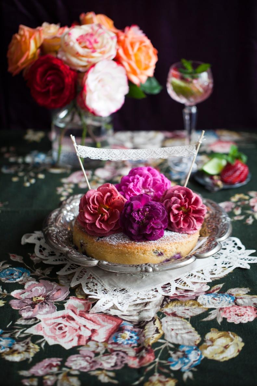 blueberry & rose yoghurt cake + strawberry & lime cider