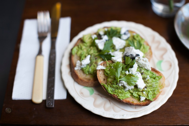 the winsome plate of rustic, unpretentious avocado & goat's cheese