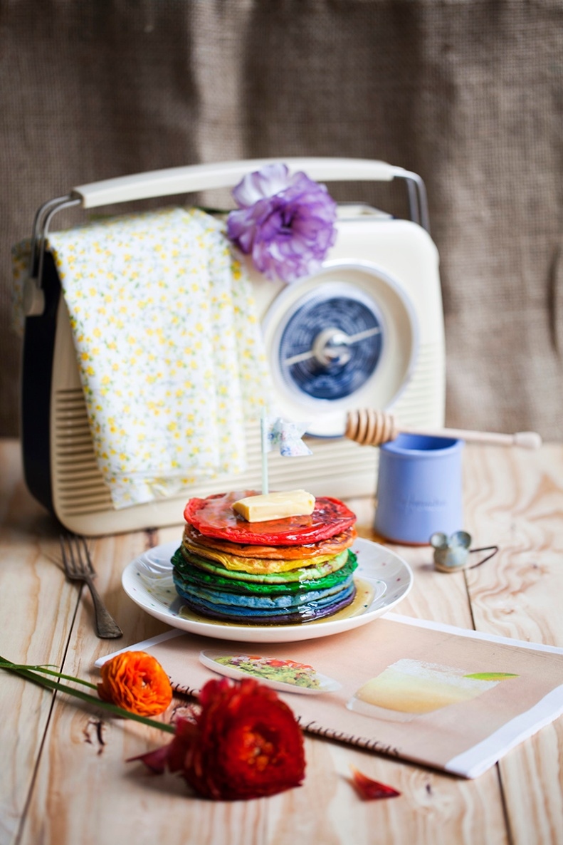 a rainbow pancake breakfast