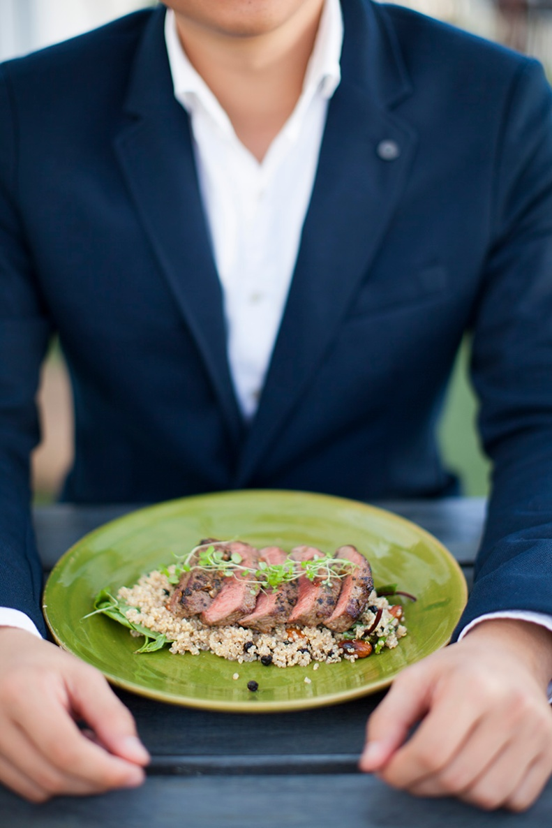 roasted chermoula rubbed lamb loin, quinoa, smoked almonds, sumac & red grapes