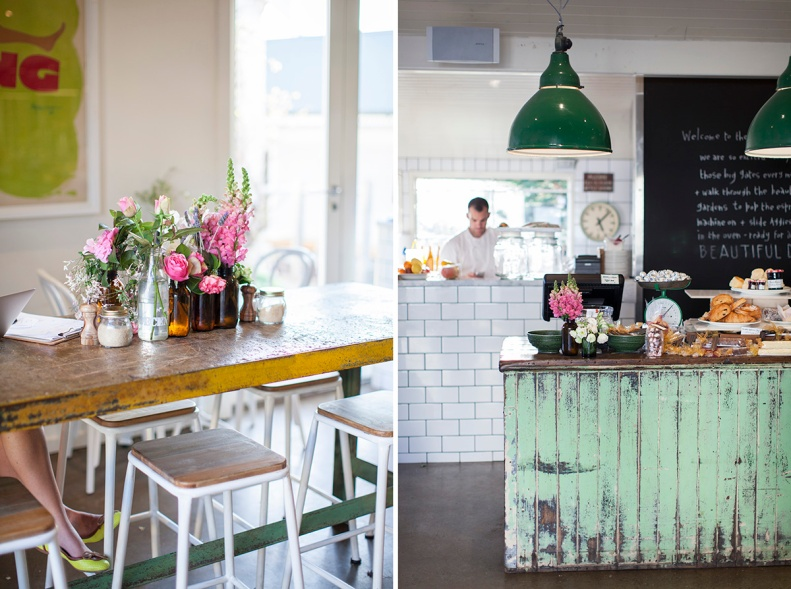 charming fresh flowers & a country farmhouse palate remind you of the cafe's heritage