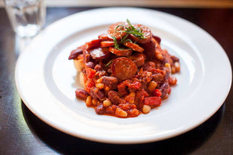spanish braised beans w/ smoked paprika on sourdough + chorizo