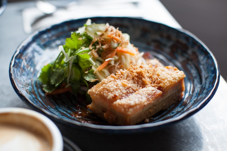 pork belly, chilli jam, asian slaw