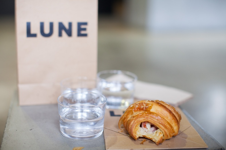 ham & gruyere | a croissant baked fresh w/ a filling of shaved ham, swiss gruyere & seeded mustard